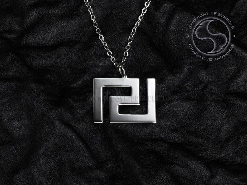 Meander Pendant Greek Symbol Stainless Steel Jewelry Greek Key Necklace  Keychain Logo Geometric Emblem Charm Sign Sigil Medallion Jewellery
