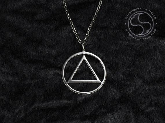 AA Circle Triangle Shiny Silver Finish Necklace//Pendant