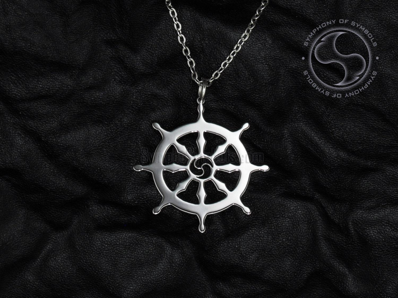Dharma Wheel Pendant Buddhism Symbol Stainless Steel Jewelry Etsy