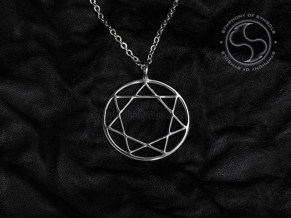 Heptagram pendant seven pointed star symbol stainless steel etsy image 0 aloadofball Gallery