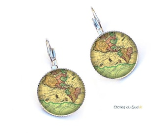 Earrings sleepers world map, Atlas, ref 233