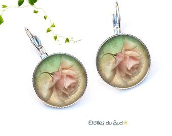 Earrings sleepers, romantic pink flowers / ref.219