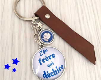 message theme Keyring a brother who rocks blue leather REF.69