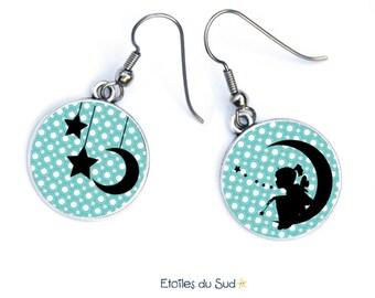 Earings, girl, moon, stars, hypoallergenique.ref:242