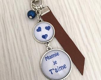 Keychain bag charm has message personalized Grandma I love blue. REF.46, keychain, bag charm, a custom message.