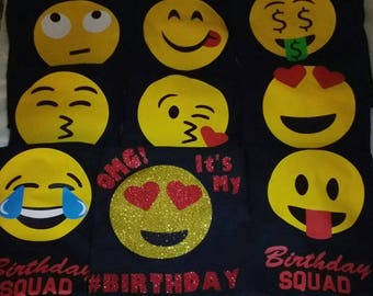 Birthday Squad Emoji Shirts