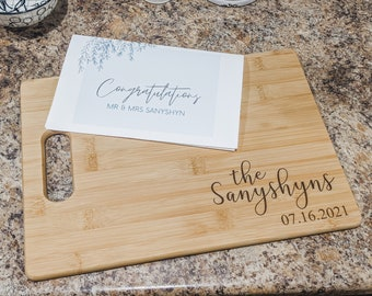 Last Name | Established Date- Cutting  Board Engraved Wedding Anniversary Holiday Christmas Housewarming Gift