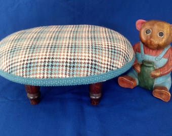Blue brown and cream wool check footstool