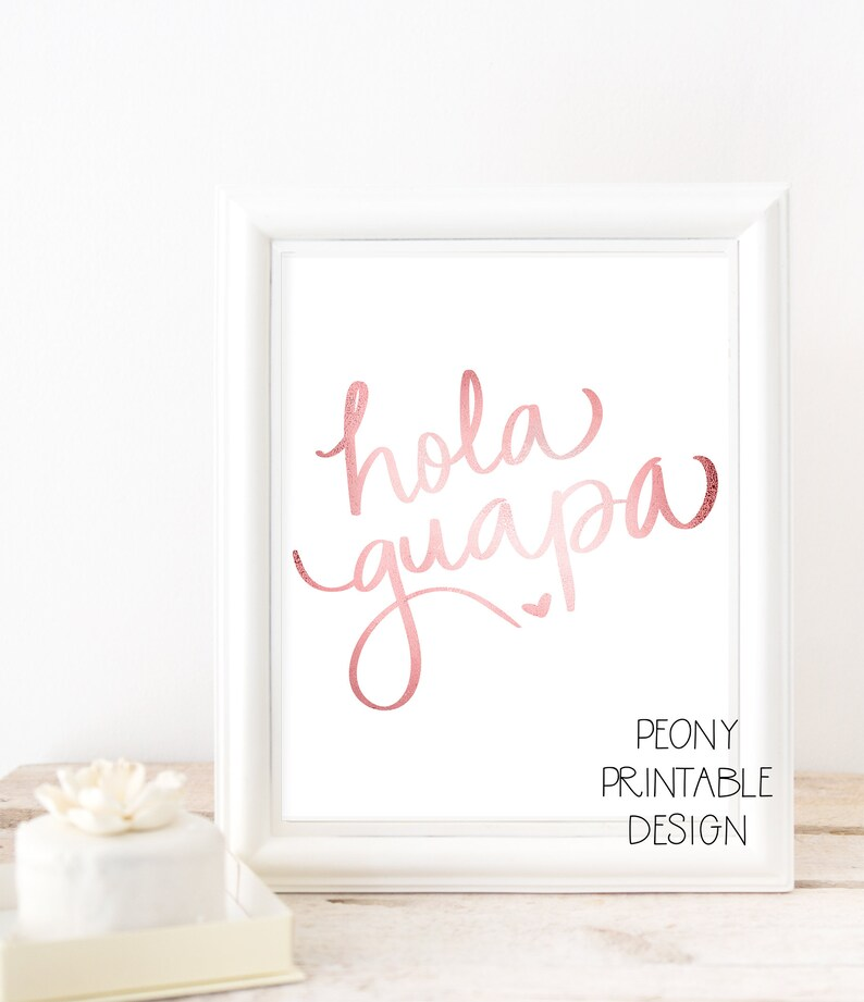 hola guapa spanish quote print spanish printable wall art | etsy