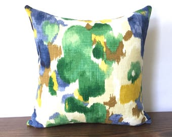 Floral Green Blue Yellow Brown Cream Throw Pillow Cover, Abstract Flower Watercolor Pillow Cover, Traditional Organic Modern Decor