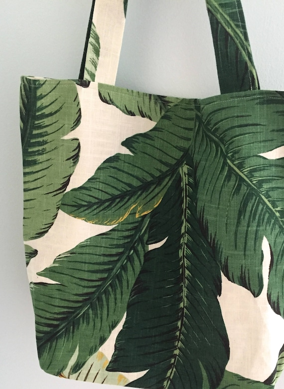 Peachy Banana Leaf Print Linen Tote Bag Tropical Green And White Beach Bag Green Nature Leaf Carry All Tote Resort Wear Bag Market Tote Palm Machost Co Dining Chair Design Ideas Machostcouk