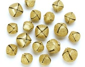 Glittery Gold Jingle Bells - Assorted sizes - 18 pieces