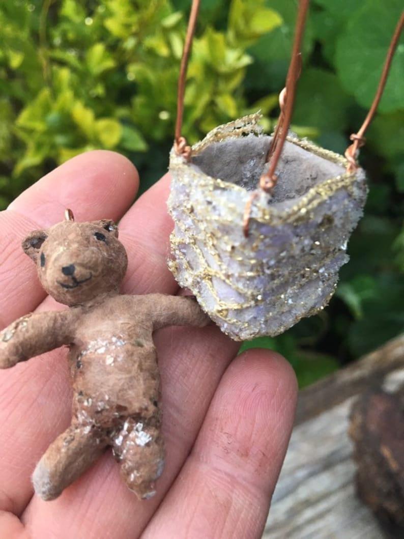 Hot Air Balloon Whimsical gift Easter Basket gift Baby Shower Gift Spun Cotton Ornament Heirloom Ornament Spun Cotton Teddy Bear