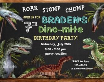 Dinosaur Invitation Etsy Birthday Party Invitations