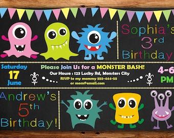 monster birthday invitation, monster invitation, monster birthday, chalkboard invitation,twins birthday invitation DIGITAL FILE (Aj)