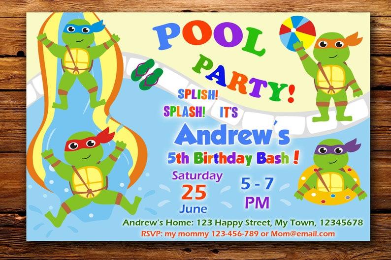 Ninja Turtles Pool Party Invitation Tmnt