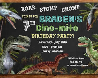 Dinosaur invitation Etsy