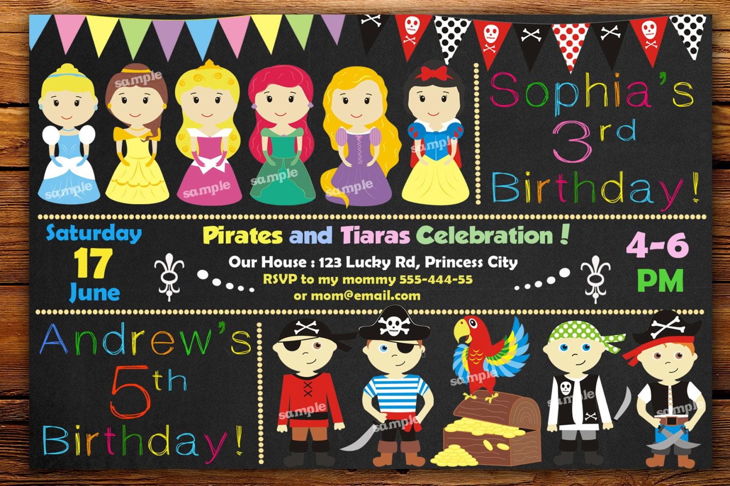 Pirate And Princess Invitation Birthday