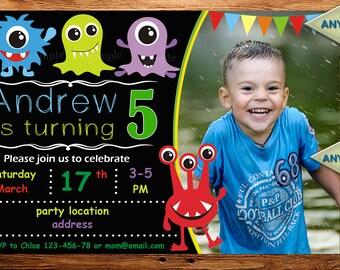 Sale monster birthday invitation, monster invitation, monster birthday, chalkboard invitation,twins birthday invitation DIGITAL FILE (Afy)