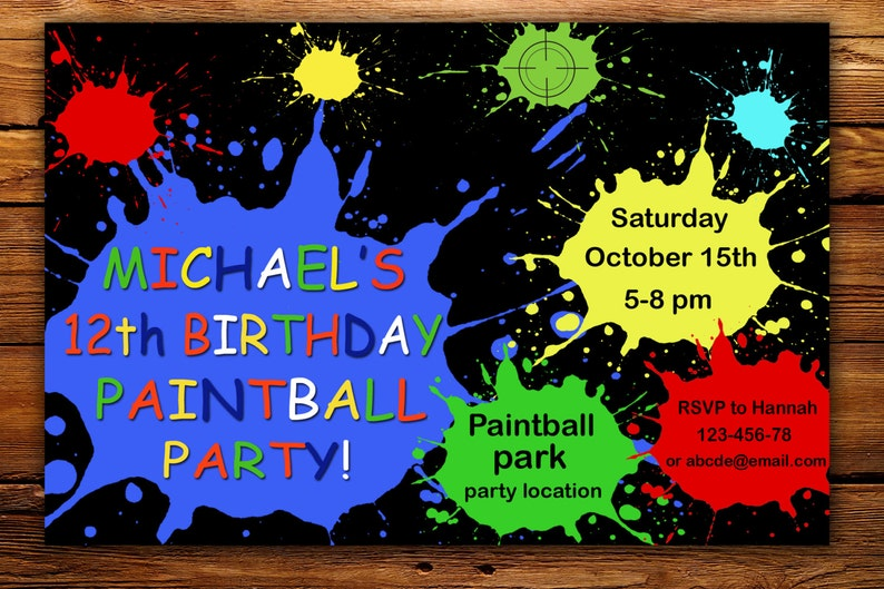 Invitation Paintball Invitations D Anniversaire De Paintball Anniversaire De Paintball Partie D Anniversaire De Paintball Garcon De