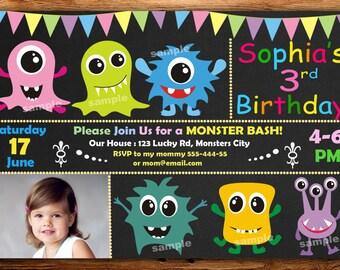 monster birthday invitation, monster invitation, monster birthday, chalkboard invitation,twins birthday invitation DIGITAL FILE (Ad)