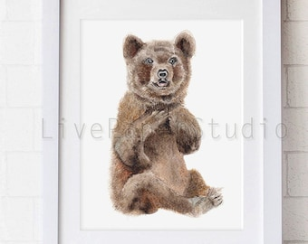 Watercolor Baby Bear print, Animal Art, Baby Bear Kids Wall Art print, Bear Nursery Decor, Wall Art for Children, Baby Animal Prints