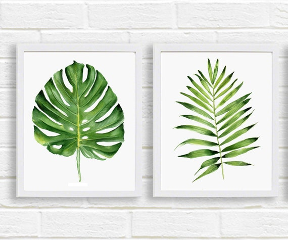 Green Tropical Leaves Print Set Of 2 Digital Download Palm Etsy Bright coloured tropical leaf pattern with contrasting striped reverse. green tropical leaves print set of 2 digital download palm leaf watercolor monstera palm printable botanical poster modern plant wall decor