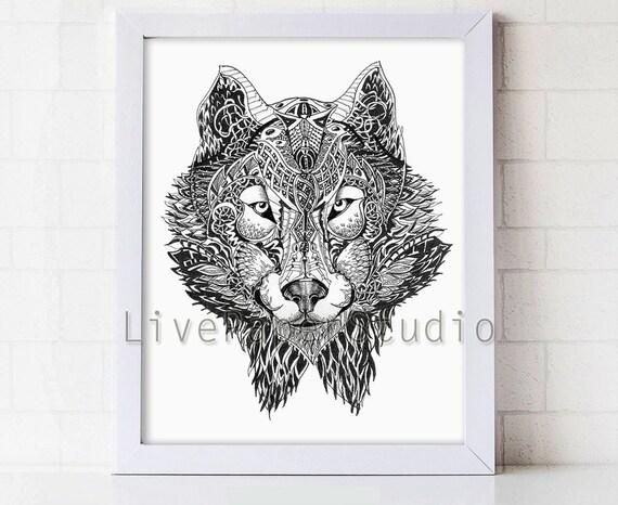 Geometric Wolf Art Wolf Head Aztec Tribal Art Tattoo Style Etsy