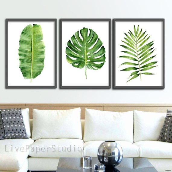 Green Tropical Leaves Printable Wall Art Set Of 3 Banana Palm Etsy Buy tropical banana leaves art print by catyarte. etsy