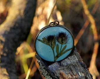Floral resin necklace, pressed flower pendant, Terrarium jewelry, Gardening gift, Nature lover gift, Real flower pendant, Resin necklace