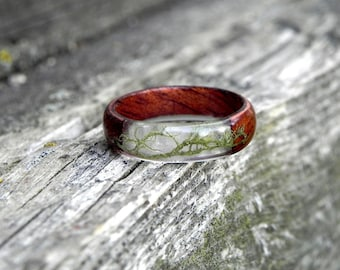 Slim and elegant red ring made of cherry wood Custom made wood ring. Hand made low dome ring