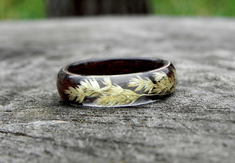 Resin wooden ring Botanical wood RING Mens wooden ring stacking ring Anniversary wood jewelry Terrarium plant rings Wood wedding rings
