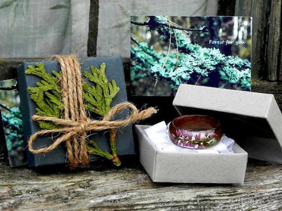 Handmade en Bois Résine Plante Anneau Nature Fleur herbe bague bois bague fantaisie cadeau
