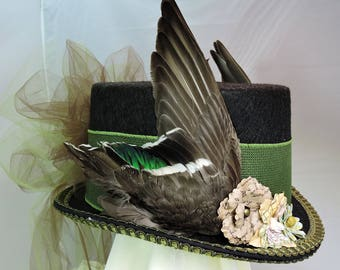 green duck WING TOP HAT victorian steampunk renaissance faire cosplay sz Small with real bird wings