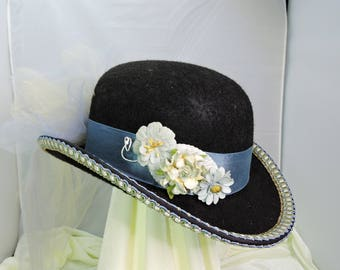 blue DERBY HAT  top hat victorian steampunk renaissance faire cosplay sz SMALL