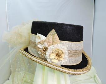 gold TOP HAT victorian steampunk renaissance faire cosplay sz SMALL