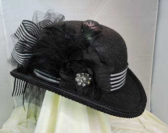 black and white DERBY HAT  top hat victorian steampunk renaissance faire cosplay sz MEDIUM