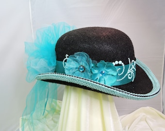 turquoise DERBY top hat victorian steampunk renaissance faire cosplay sz Medium