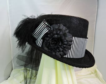 black and white TOP HAT victorian steampunk renaissance faire cosplay sz Large