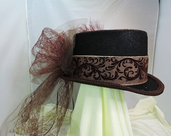 brown TOP HAT victorian steampunk renaissance faire cosplay sz Large