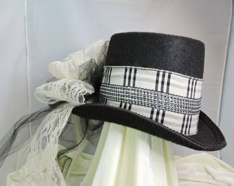 black and cream COACHMANS TOP HAT victorian steampunk renaissance faire cosplay sz medium