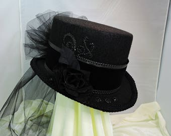black TOP HAT victorian steampunk renaissance faire cosplay sz Large