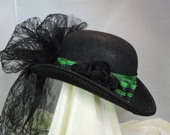 black and green DERBY HAT  top hat victorian steampunk renaissance faire cosplay sz SMALL