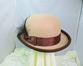 tan and brown MENS DERBY HAT bowler top hat victorian steampunk renaissance faire cosplay sz Medium