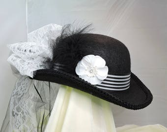 black and white DERBY HAT  top hat victorian steampunk renaissance faire cosplay sz SMALL