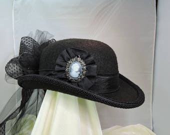 black DERBY HAT  top hat victorian steampunk renaissance faire cosplay sz MEDIUM