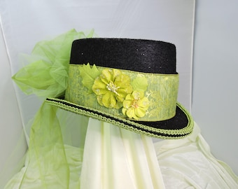 green TOP HAT victorian steampunk renaissance faire cosplay sz SMALL