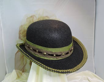 brown and green DERBY HAT  top hat victorian steampunk renaissance faire cosplay sz SMALL