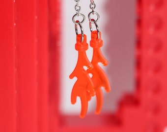 Orange Lego Flame Dangle Earrings