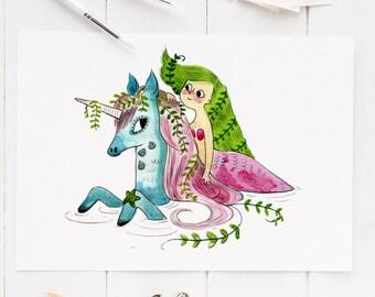 Mermaid and unicorn art print, mermaid painting, unicorn gift, mermaid print, unicorn artwork, art print, illustration, mermaid bedroom